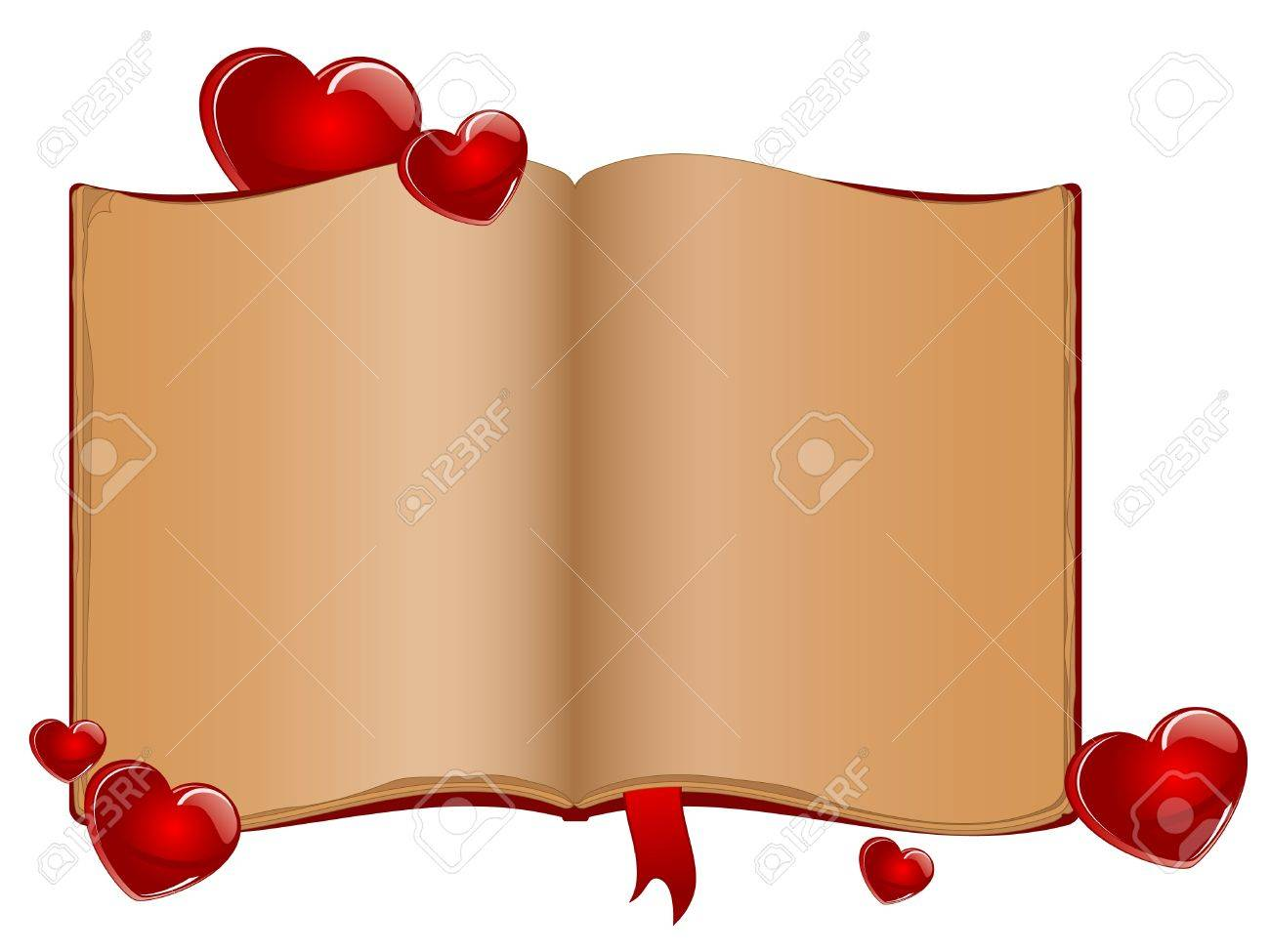 Open old book and red hearts Stock Vector - 11067281