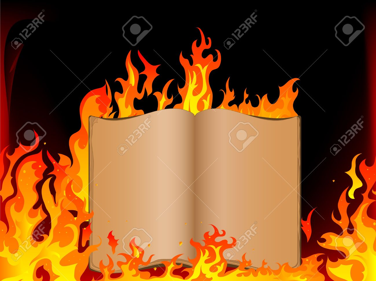 Old open book in fire