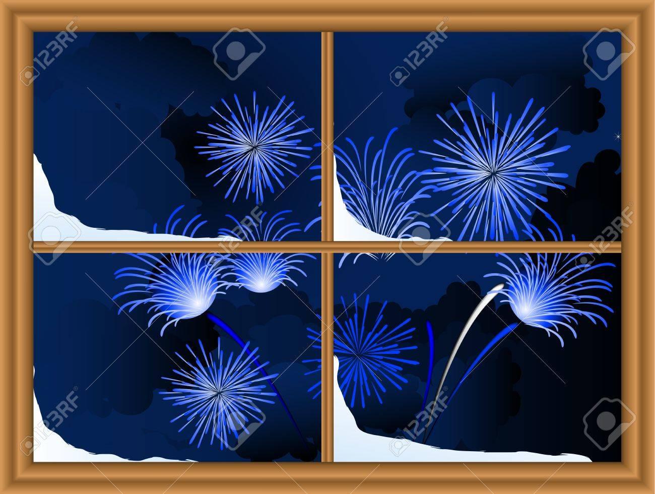 Blue firework through the window Stock Vector - 11655004
