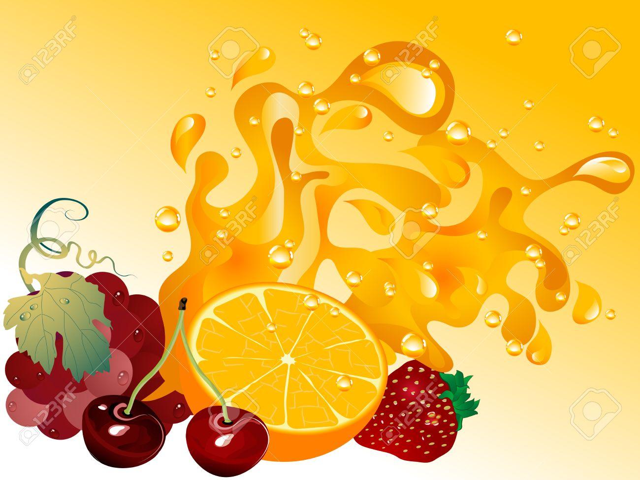 Fruit splash classic - Fruit Juice Splash And The Fruits Stock Vector 11830889
