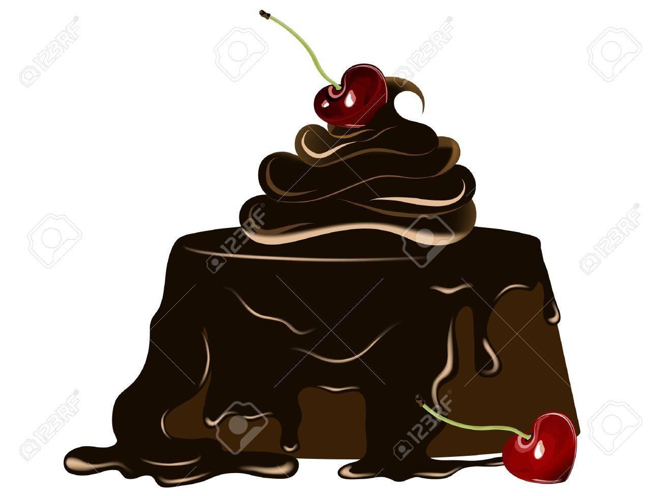 Chocolate cake with fresh cherry Stock Vector - 11830893