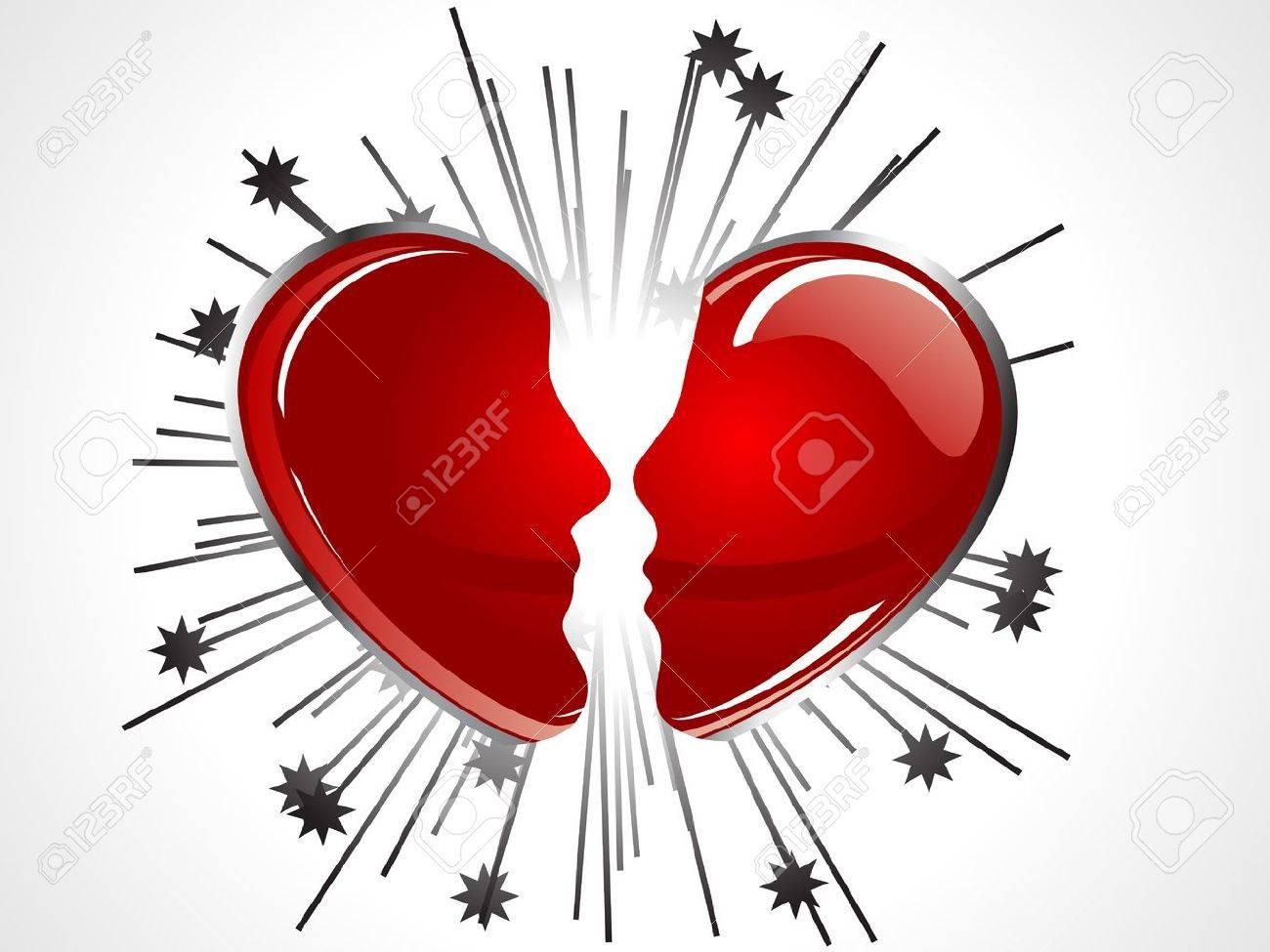 Corazón Roto De Color Rojo Como Las Dos Caras Ilustraciones ...