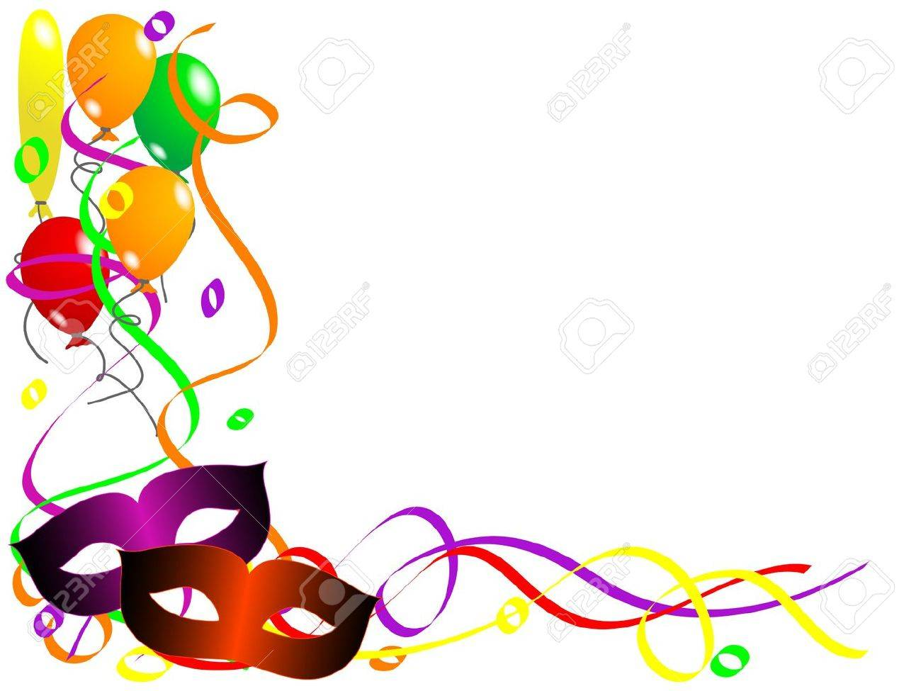 Carnival background with balloons, ribbons and face masks Stock Vector - 12011301