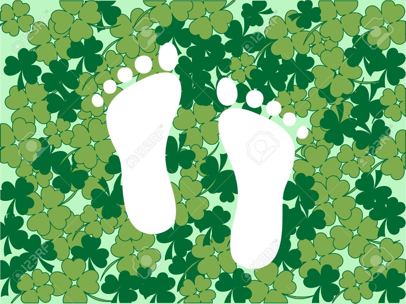 White foot prints in green clover background Stock Vector - 12486551