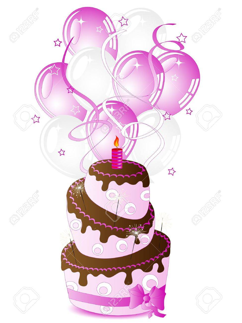 Fabulous Birthday Cake For Her And Party Balloons Royalty Free Cliparts Personalised Birthday Cards Paralily Jamesorg