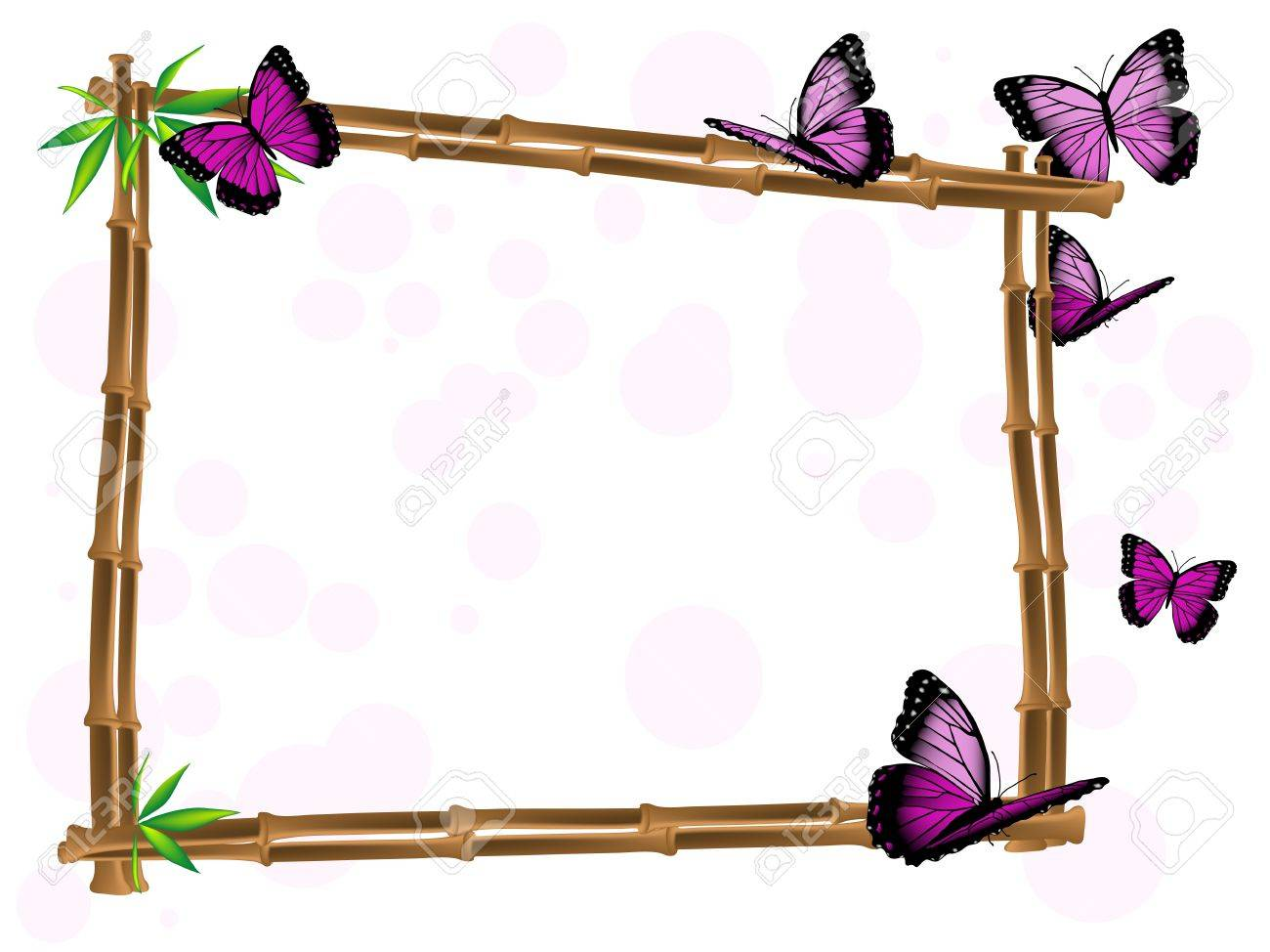 bamboo frame with leaves and pink butterflies stock vector 13445304