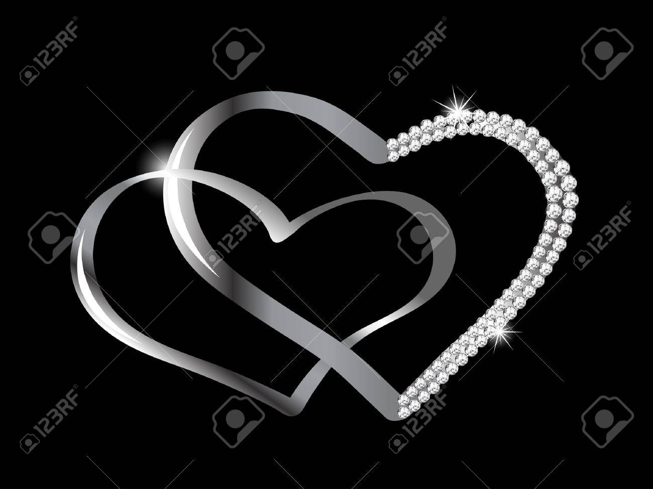 Two silver hearts with diamonds Stock Vector - 14968999