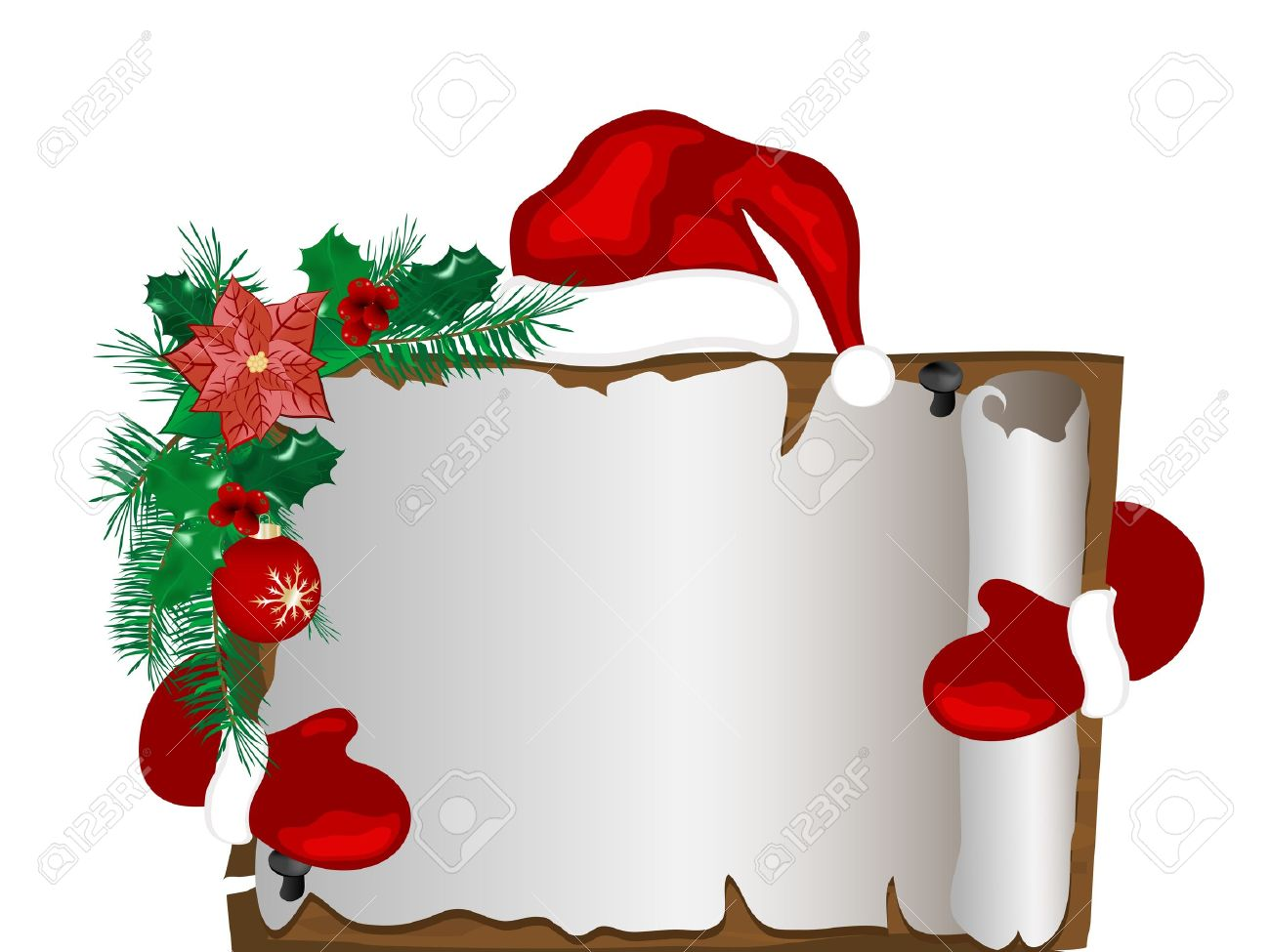 Christmas parchment with Santa's hat and gloves Stock Vector - 15660890