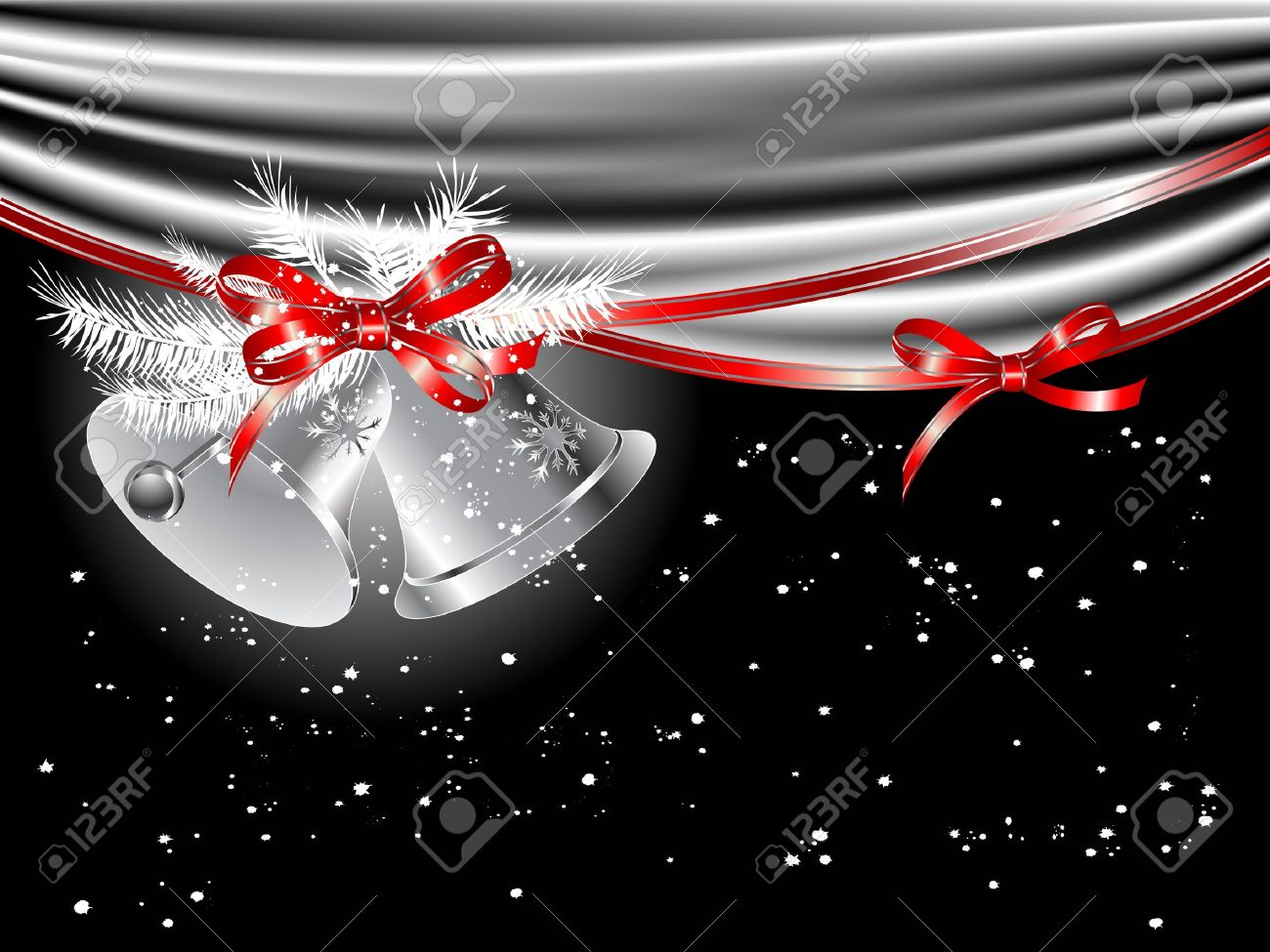Christmas silver bells and the curtain Stock Vector - 16444327