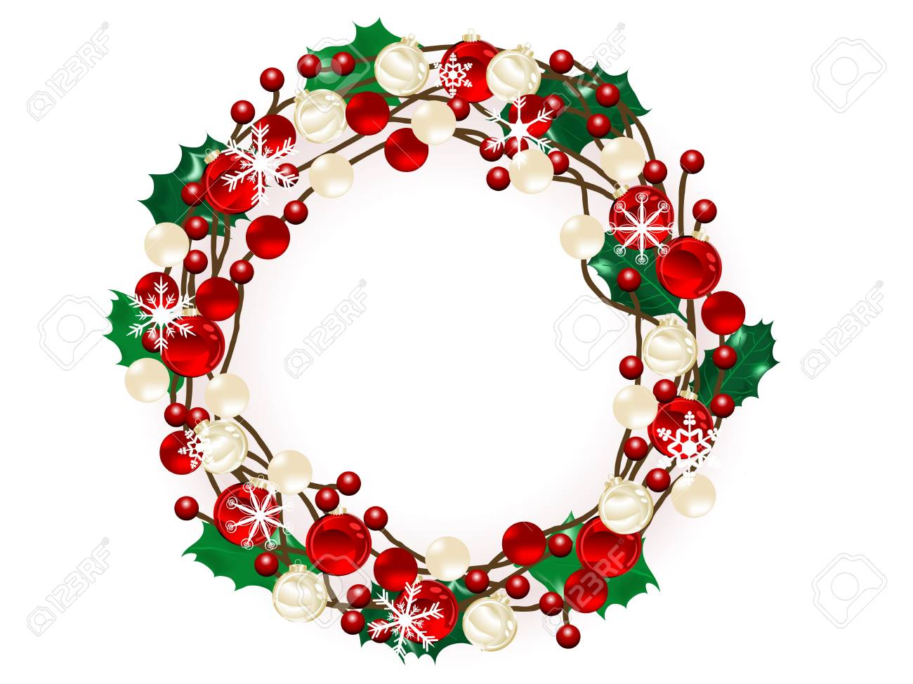 Christmas wreath with red and gold balls Stock Vector - 16511247