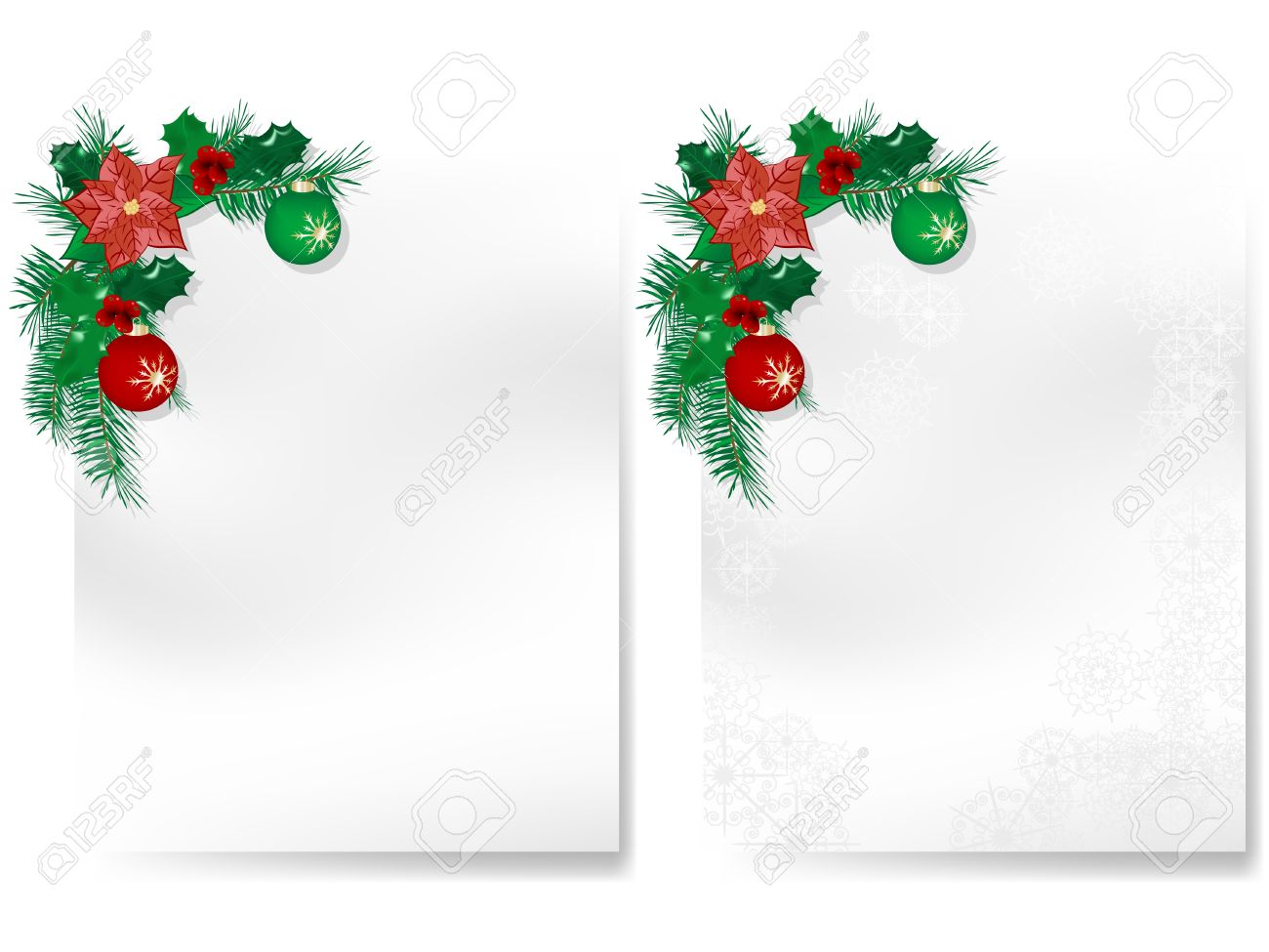 Two Blank Christmas Cards With Garlands Royalty Free Cliparts – Blank Xmas Cards