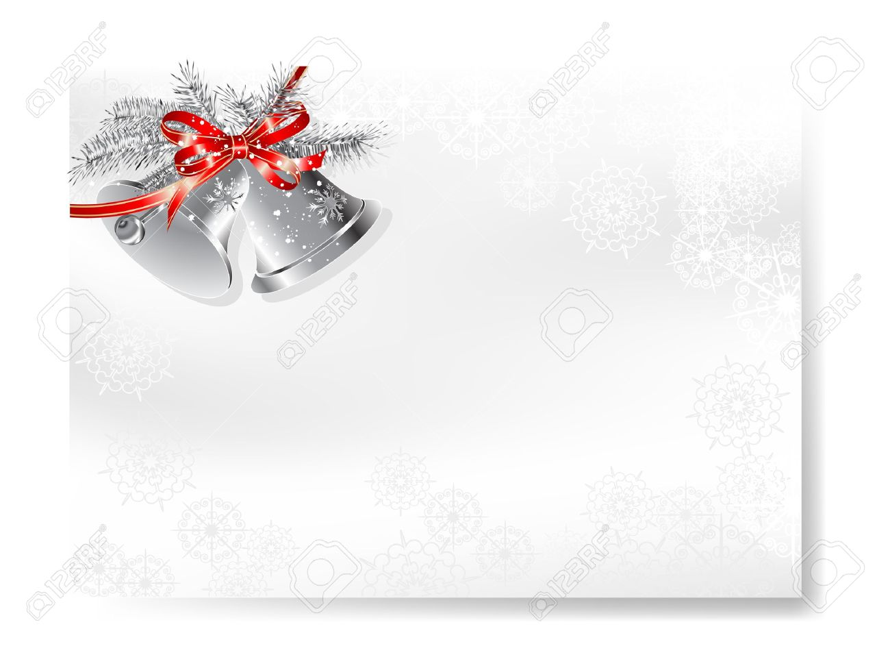 Blank christmas card with two silver bells Stock Vector - 16872792