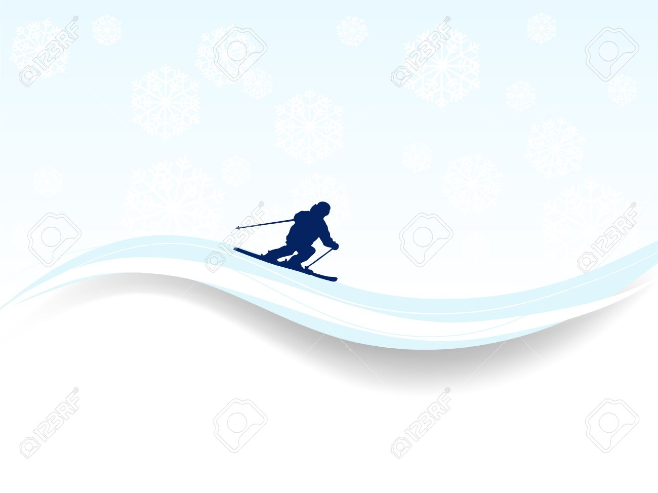 Abstract winter background with skier and snowflakes Stock Vector - 16911859