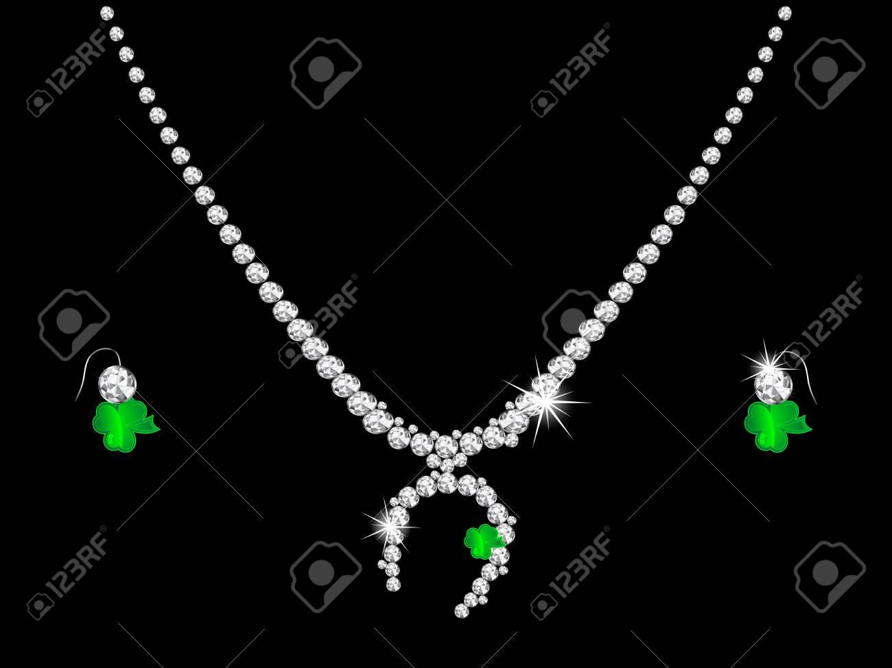 Luxury diamond necklace on black background Stock Vector - 17019128