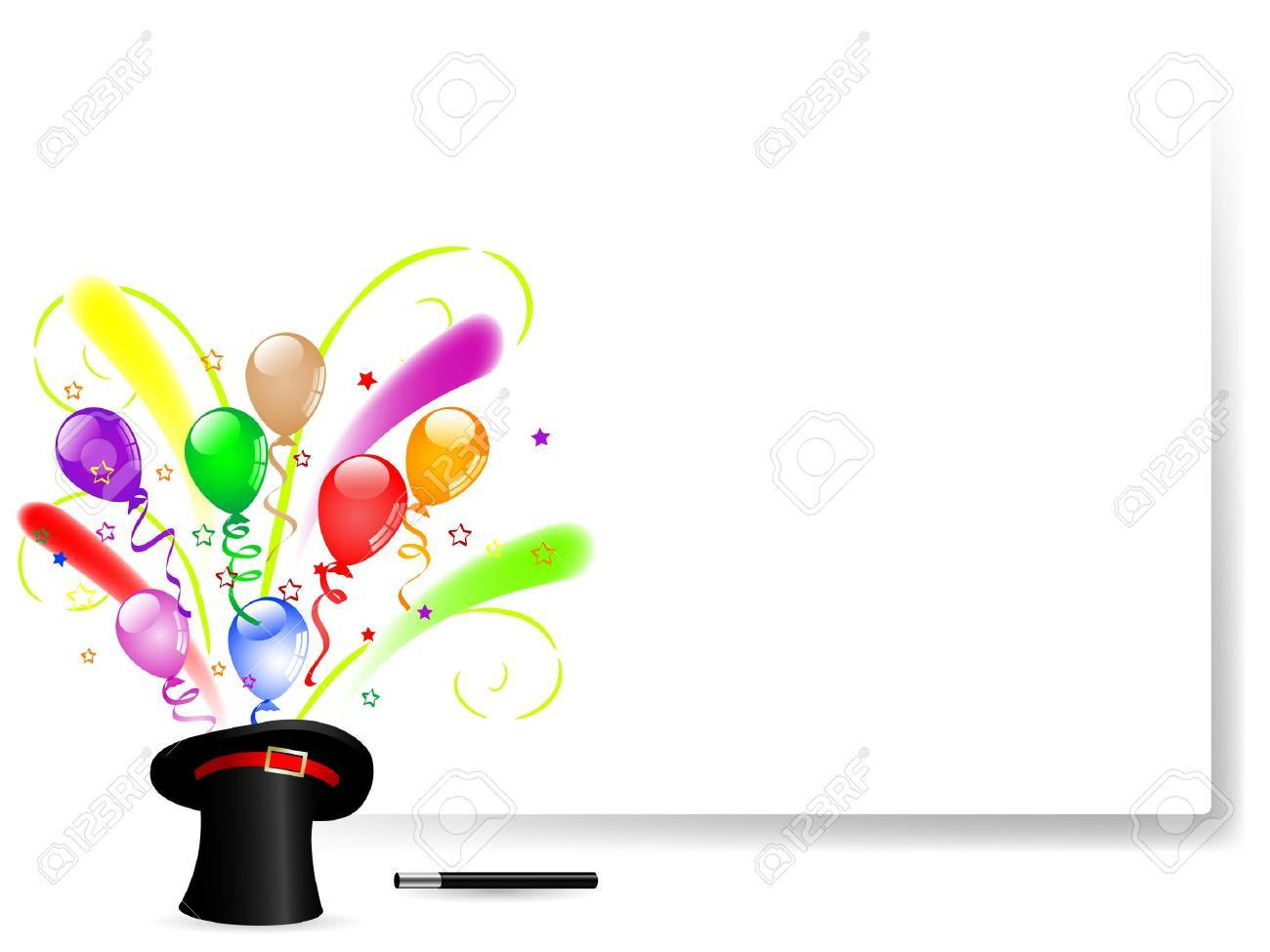 Colorful party balloons in black magic hat Stock Vector - 17305691