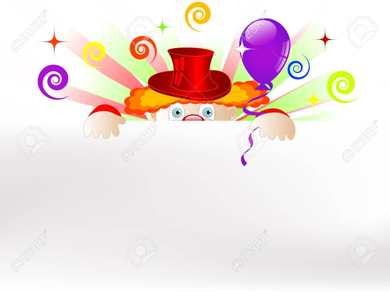 Clown with colorful party balloons and ribbons Stock Vector - 17422745
