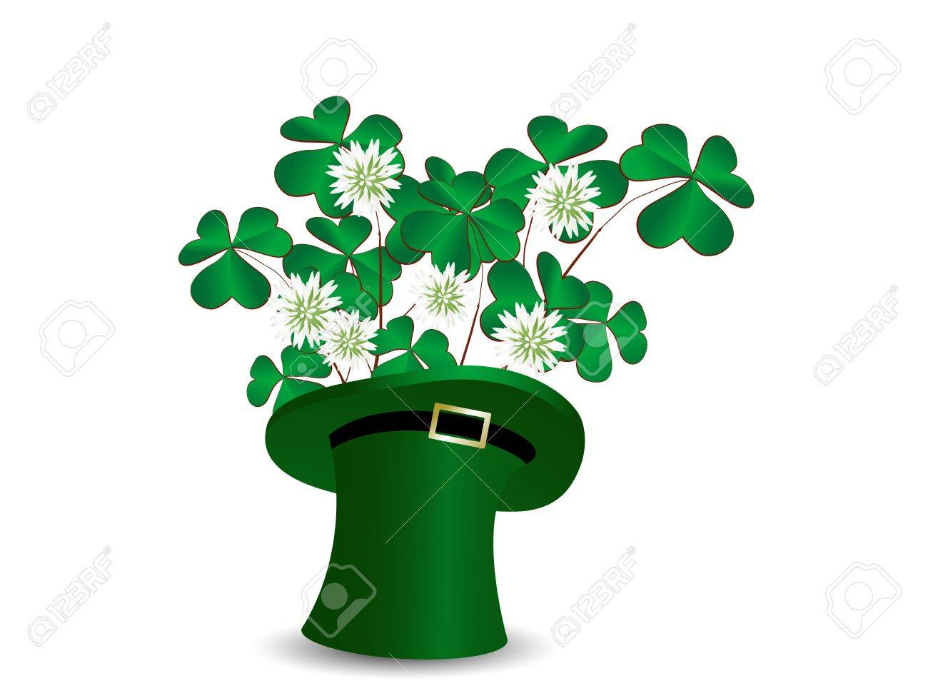 St.Patrick!s green hat with clover leaves Stock Vector - 17584449