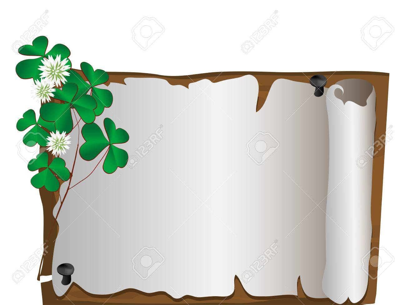 Blank paper with border from clover leaves Stock Vector - 17728781
