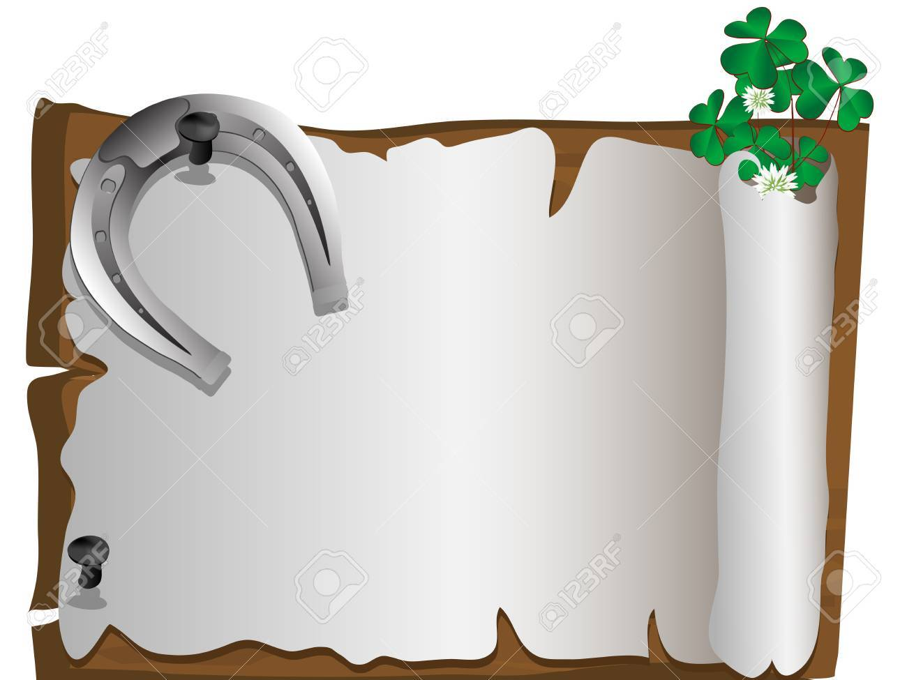 Silver horseshoe with ladybird and clover leaves Stock Vector - 17728790