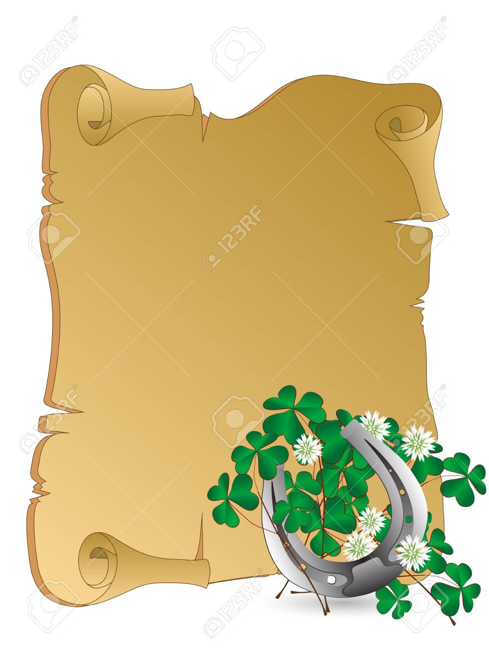 Silver horseshoe with clover leaves Stock Vector - 17899190