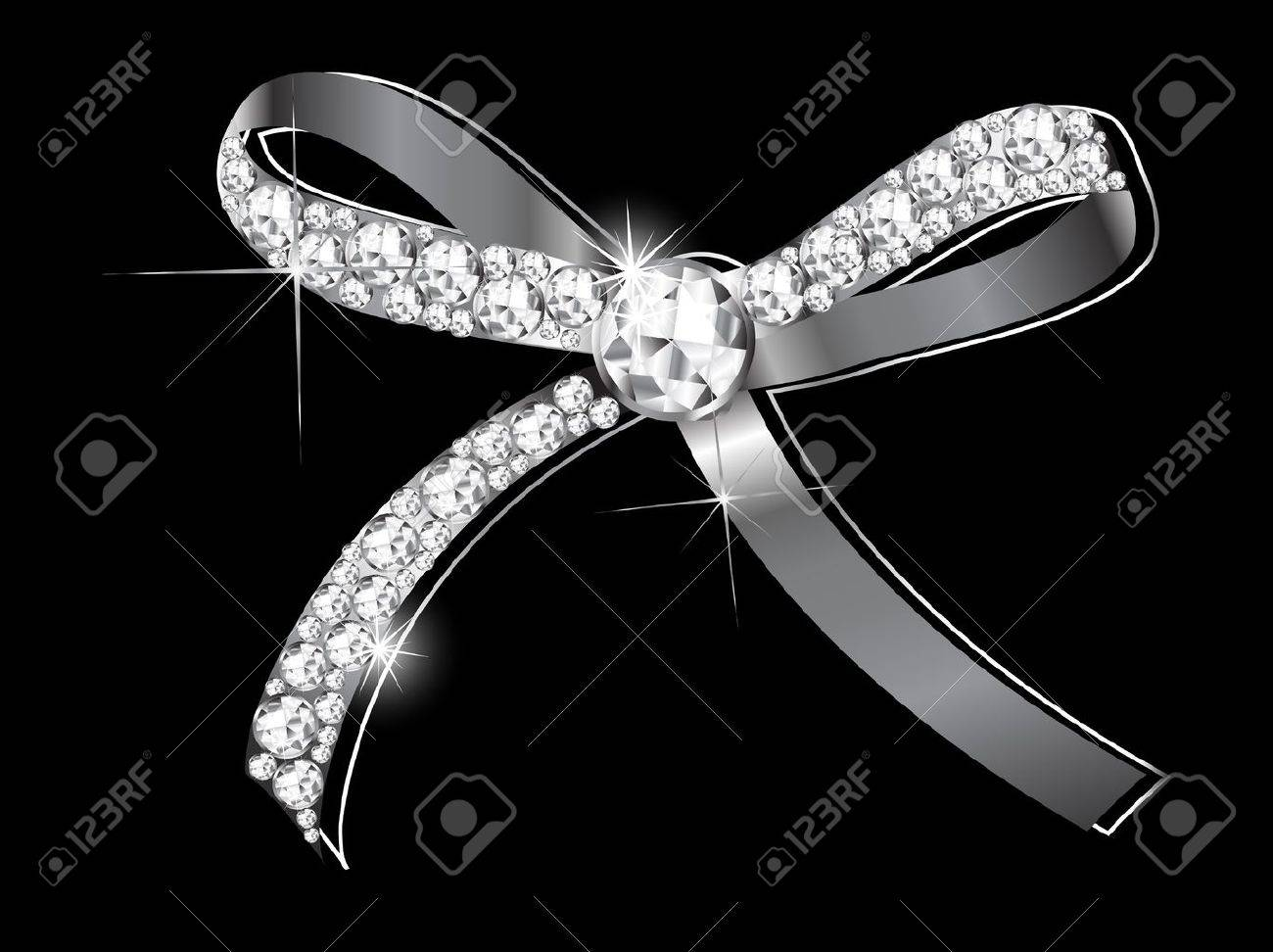 Luxury silver bow with the diamonds - 18655617