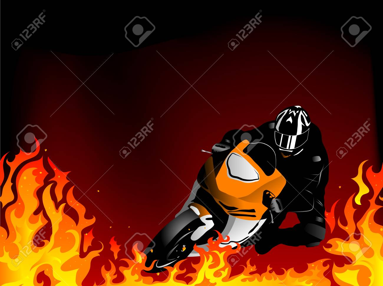 Silhouette of motobiker in the flames Stock Vector - 18655625