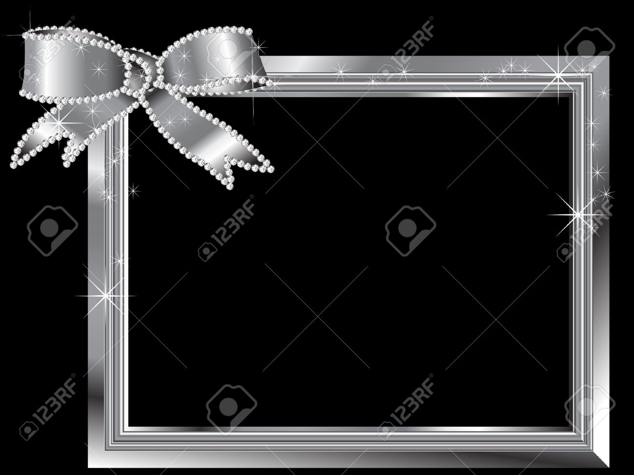 Silver frame with diamond ribbon Stock Vector - 18709307