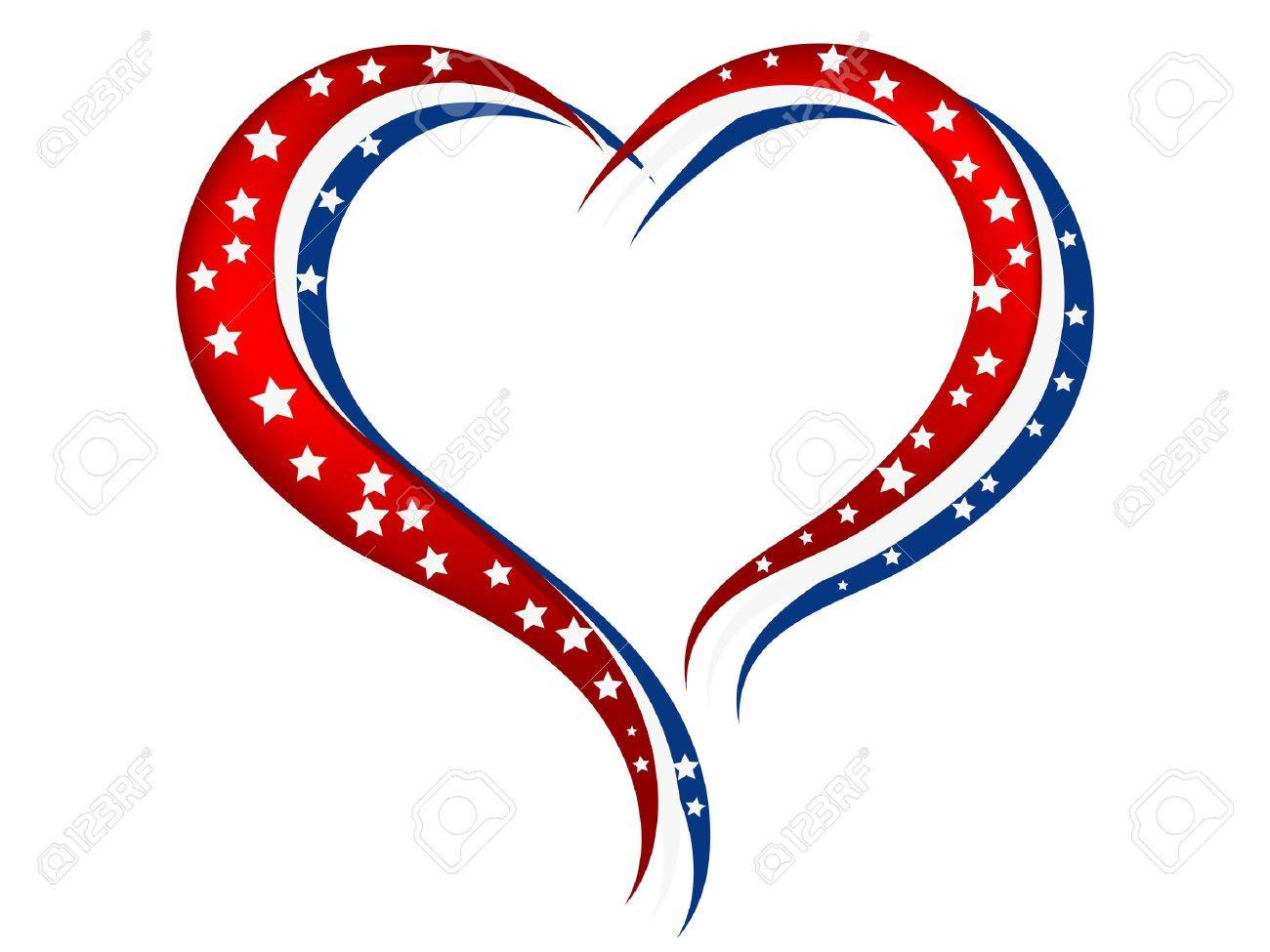 Red White And Blue Heart With White Stars Royalty Free Cliparts