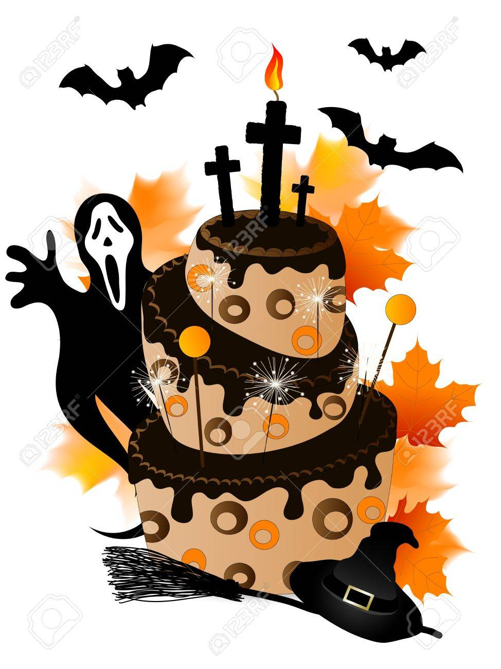 Halloween Cake With Chocolate Sparklers And Ghost Royalty Free
