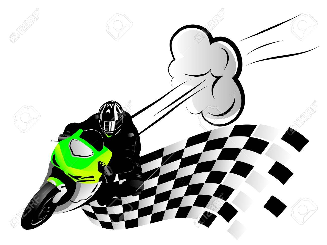 illustration of motorcycle racer and finish flag Stock Vector - 21020602