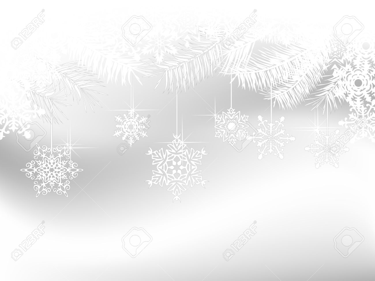 Grey Christmas Background With White Snowflakes And Needles