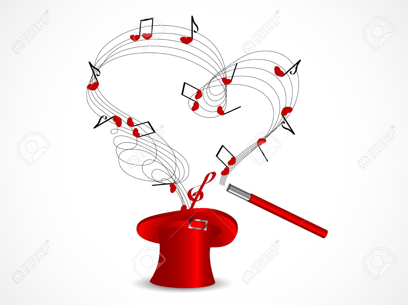 Clip Art Line Of Hearts : Red magic cylinder with notes and hearts royalty free cliparts