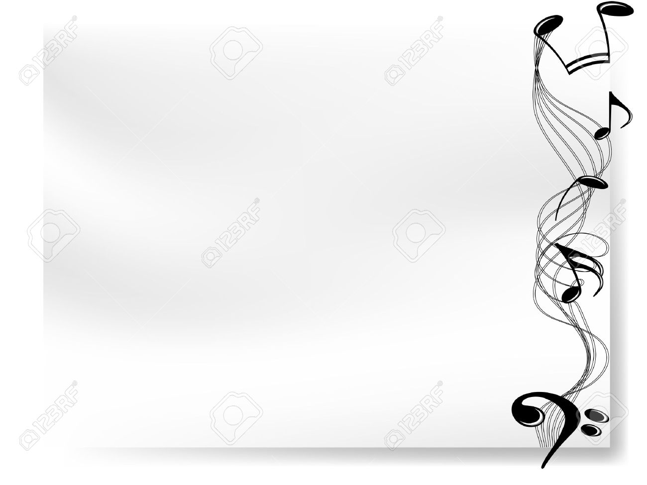 blank white paper with border of musical notes royalty free