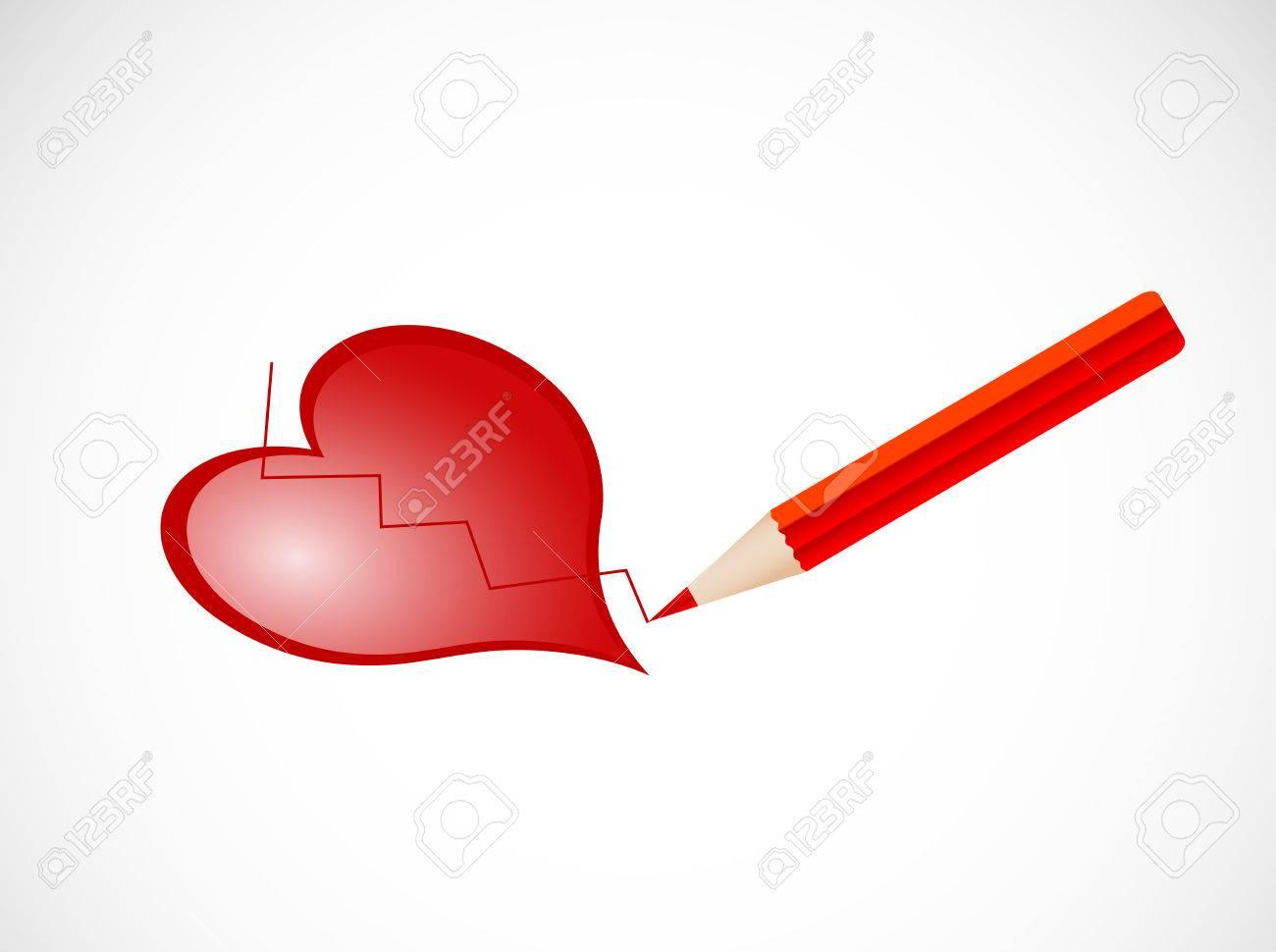 Lápiz Dibujar El Corazón Roto Ilustraciones Vectoriales Clip Art