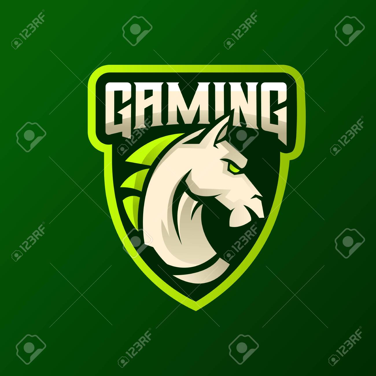Horse Head Athletic Club Vector Logo Concept Isolated On Green Royalty Free Cliparts Vectors And Stock Illustration Image 150690891