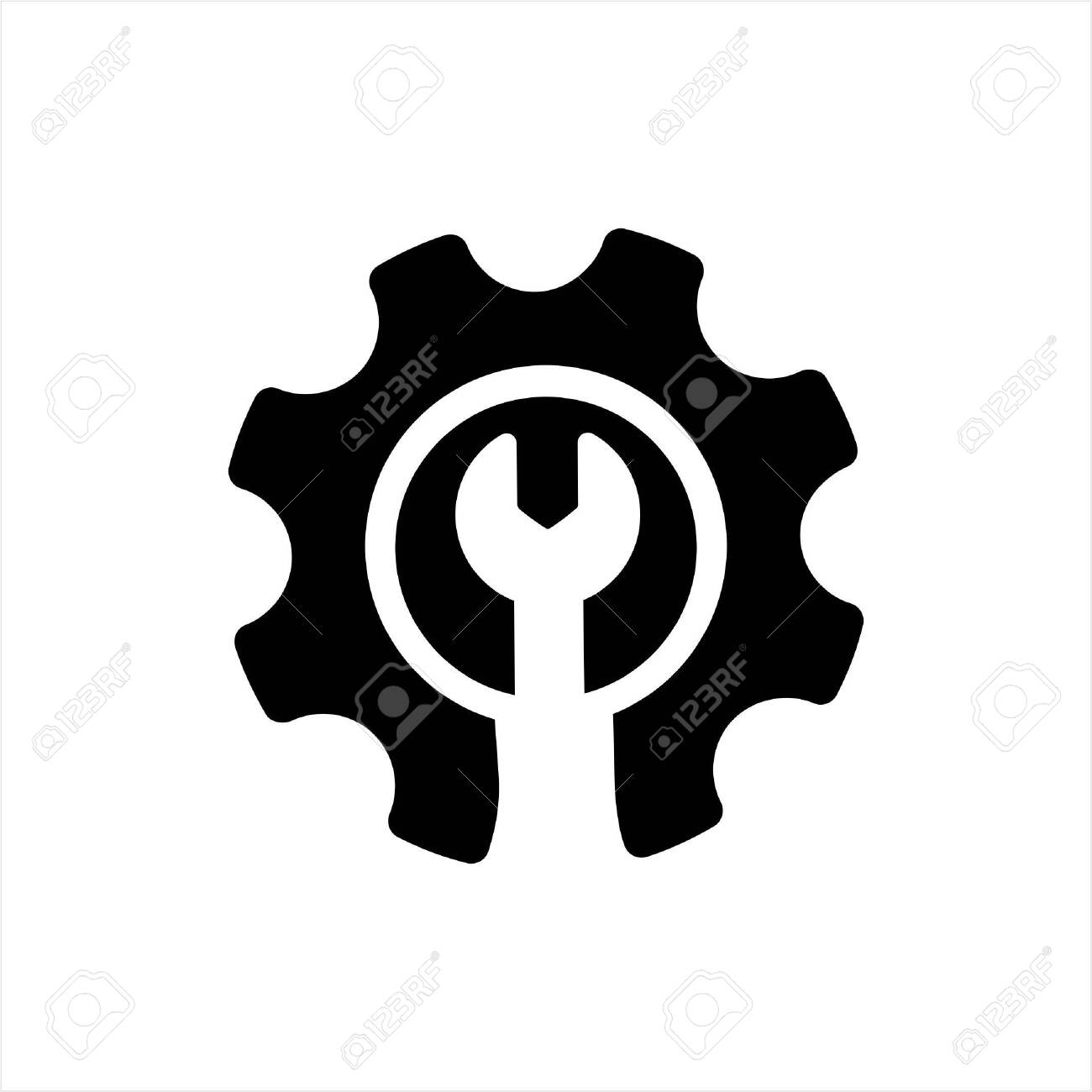 gear or cog icon on a white background