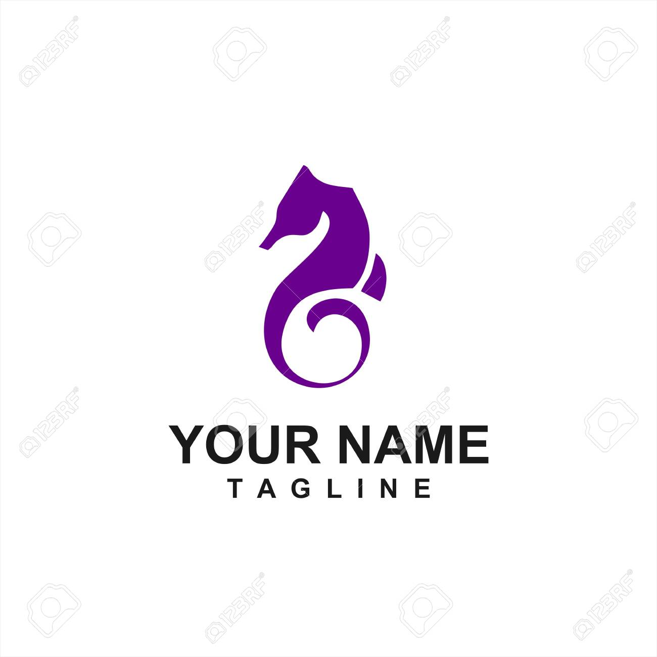 Simple Purple Sea Horse Logo And Vector Icon Royalty Free Cliparts Vectors And Stock Illustration Image 137174293
