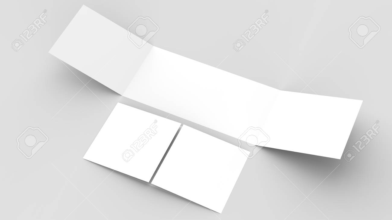 Horizontal - landscape gate fold brochure mock up isolated on