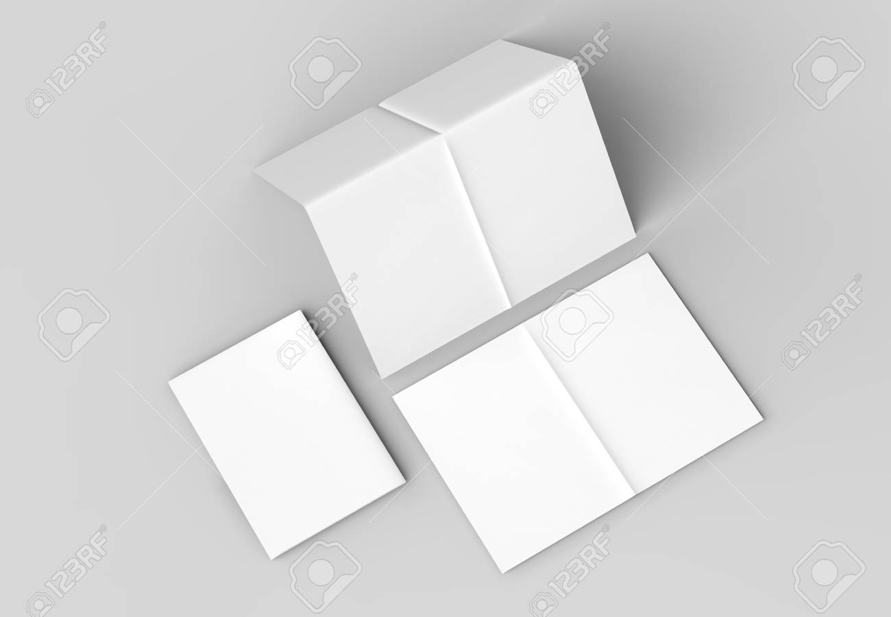 8 page leaflet french fold right angle vertical brochure mock