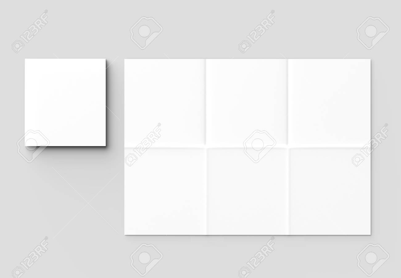 12 page leaflet french fold square brochure mock up isolated