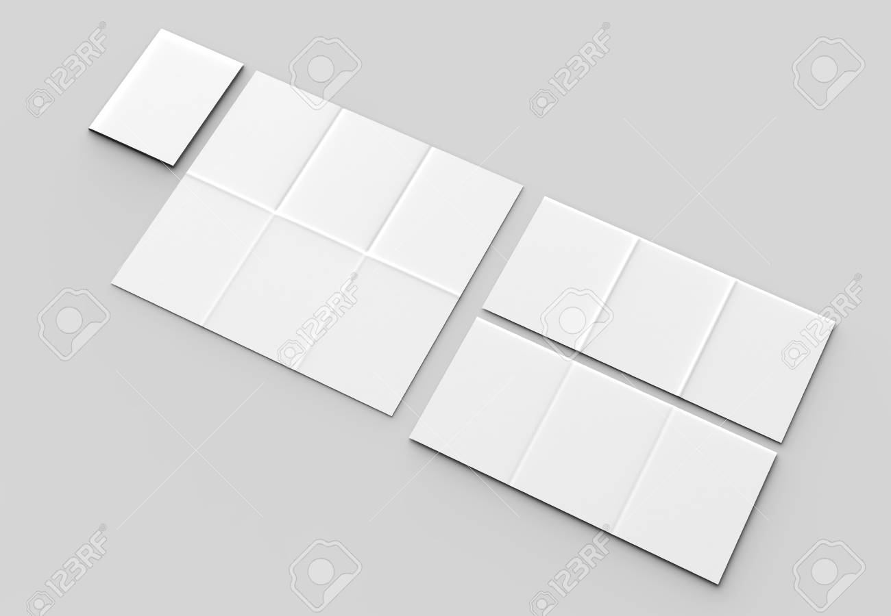 12 page leaflet french fold vertical brochure mock up isolated