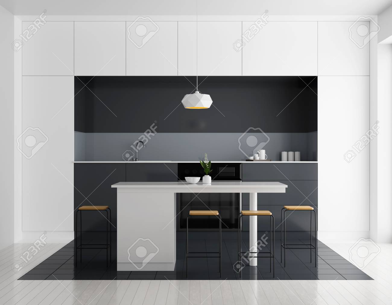 Modern bright kitchen interior. Minimalistic kitchen design with bar and  stools. 9D illustration.