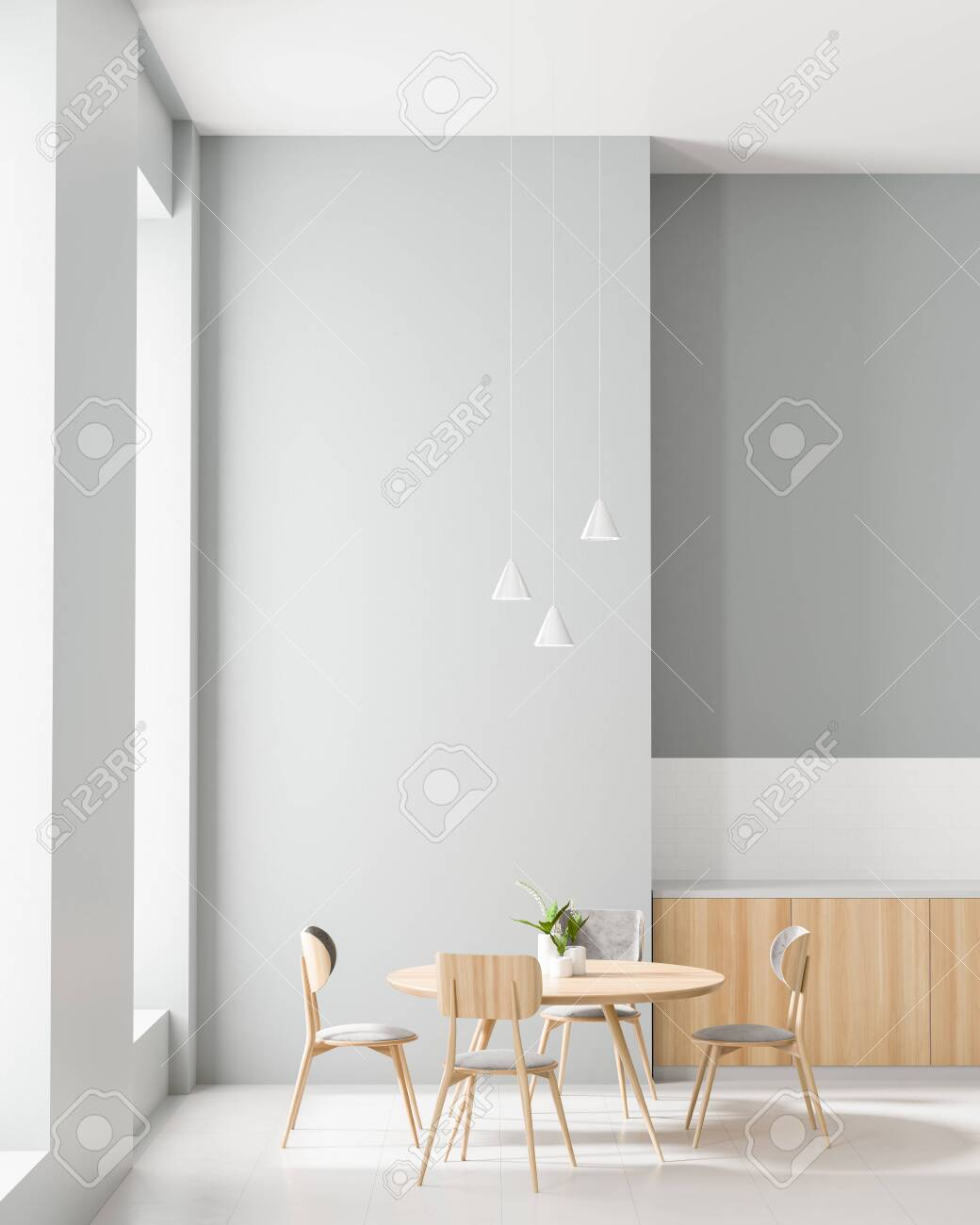 Spacious Modern Kitchen With Dining Table Minimalist Dining Stock Photo Picture And Royalty Free Image Image 122503379