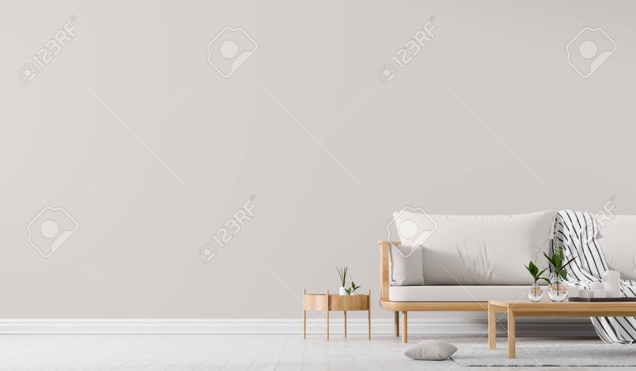 Interior wall mock up with Scandinavian style sofa with coffe table. Minimalist interior design. 3D illustration. - 124431101