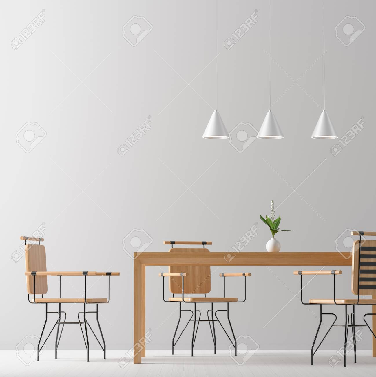 Picture of: Spacious Modern Dining Room With Wooden Chairs And Table Minimalist Stock Photo Picture And Royalty Free Image Image 124623975