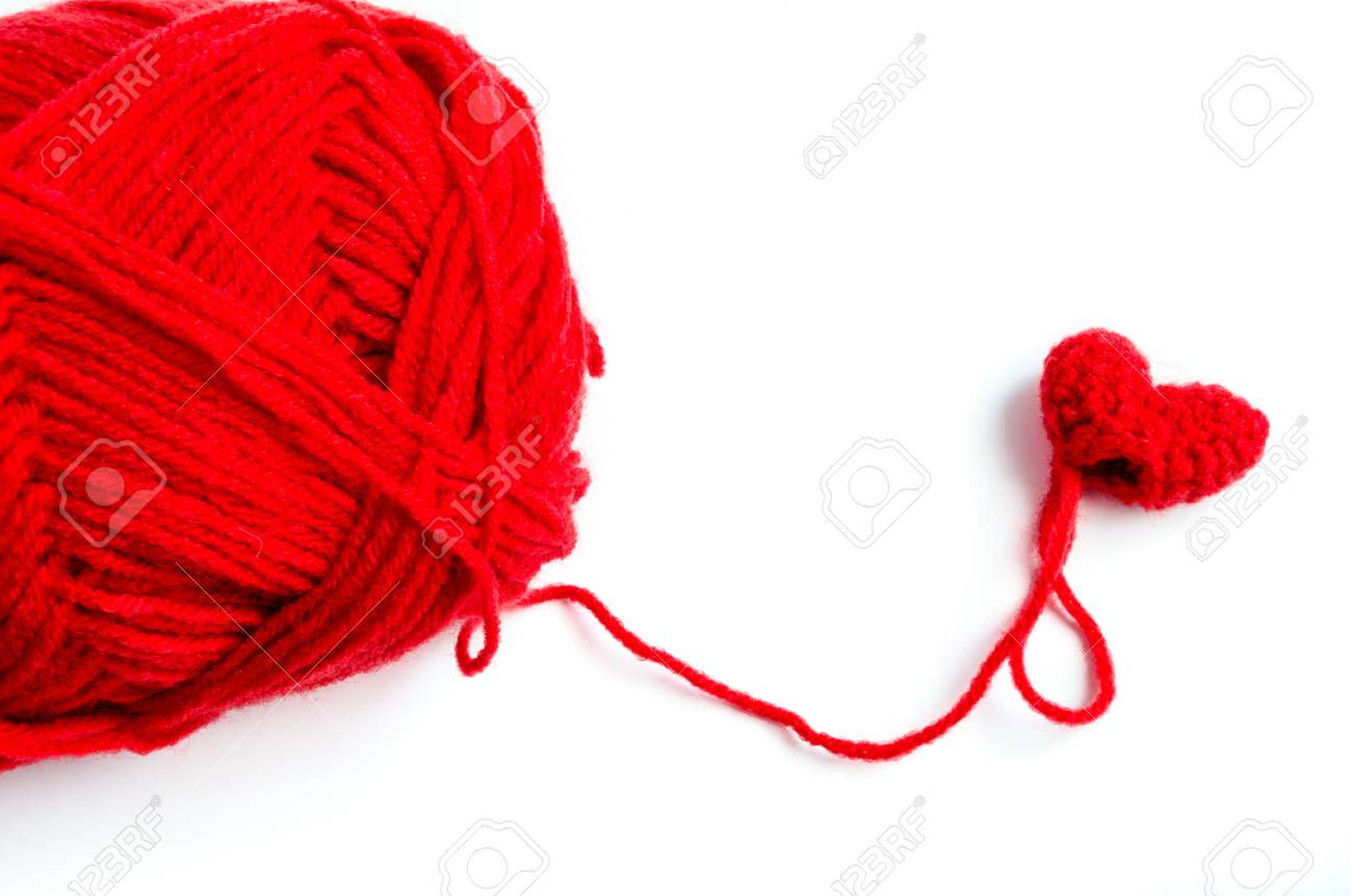 Incomplete Red Heart Crochet With Yarn On White Background Stock