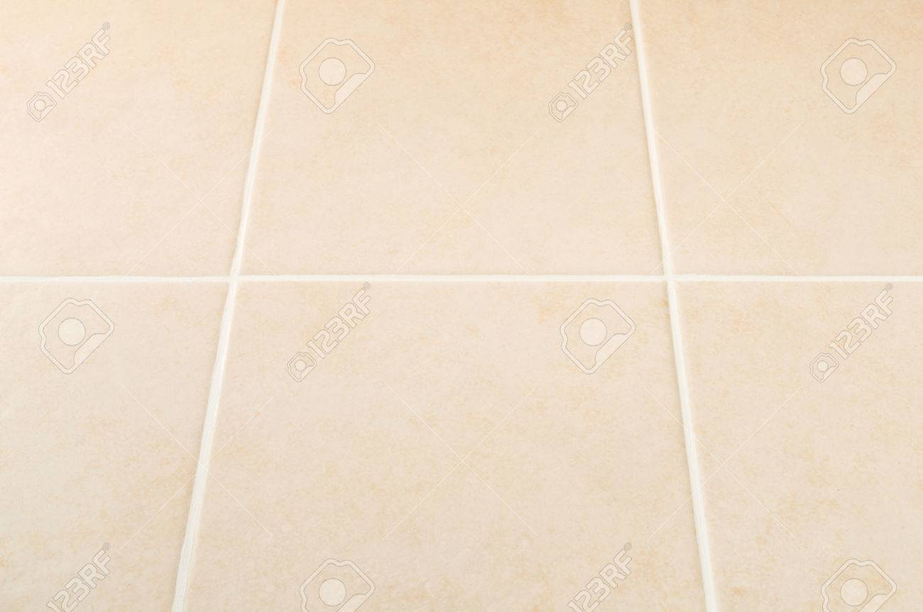Cream Tile Wall With White Grout Pattern, Perspective View Stock ...