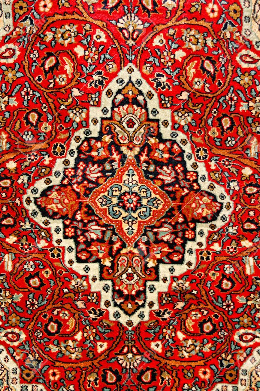 colorful indian carpet with delicate asian design stock photo