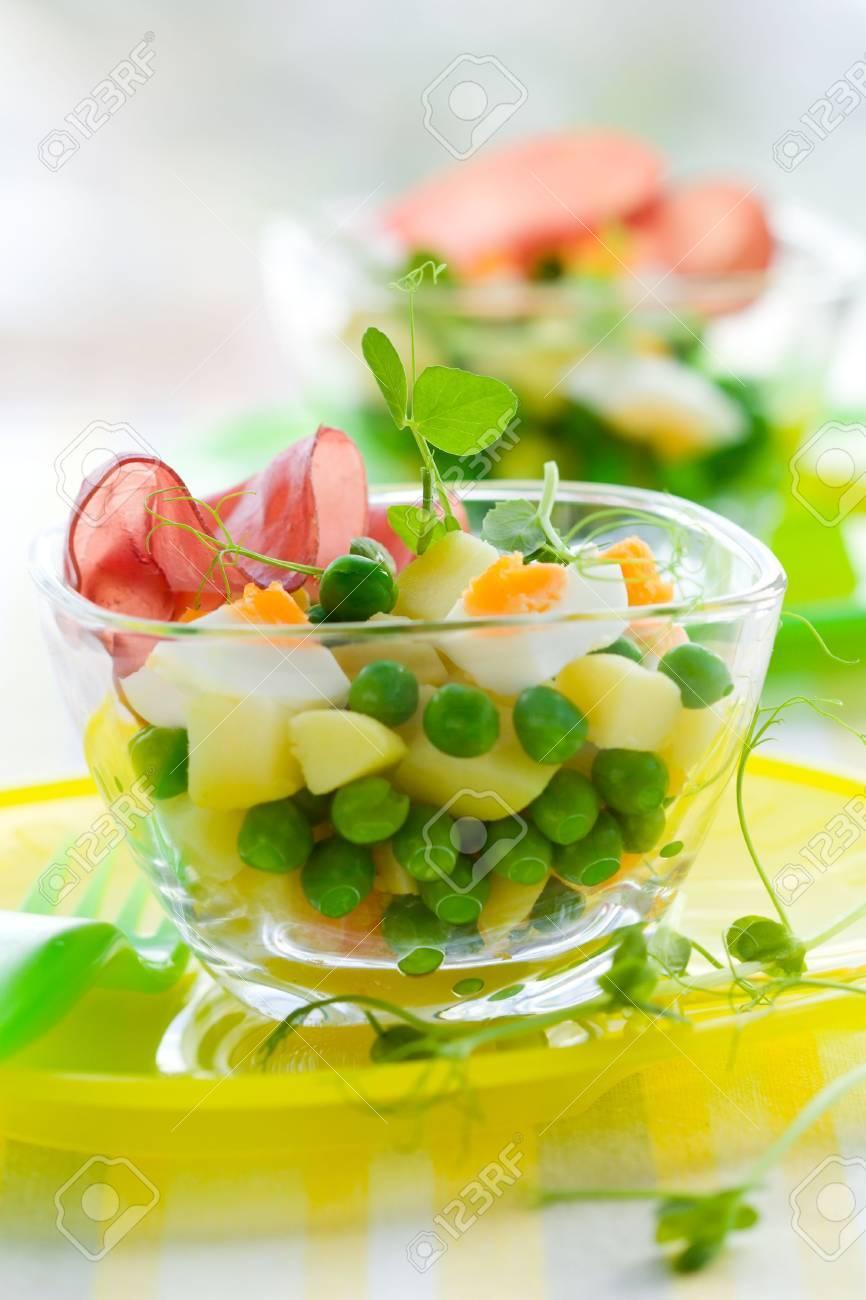 spring salad witn potato,egg, pea and ham Stock Photo - 6568231
