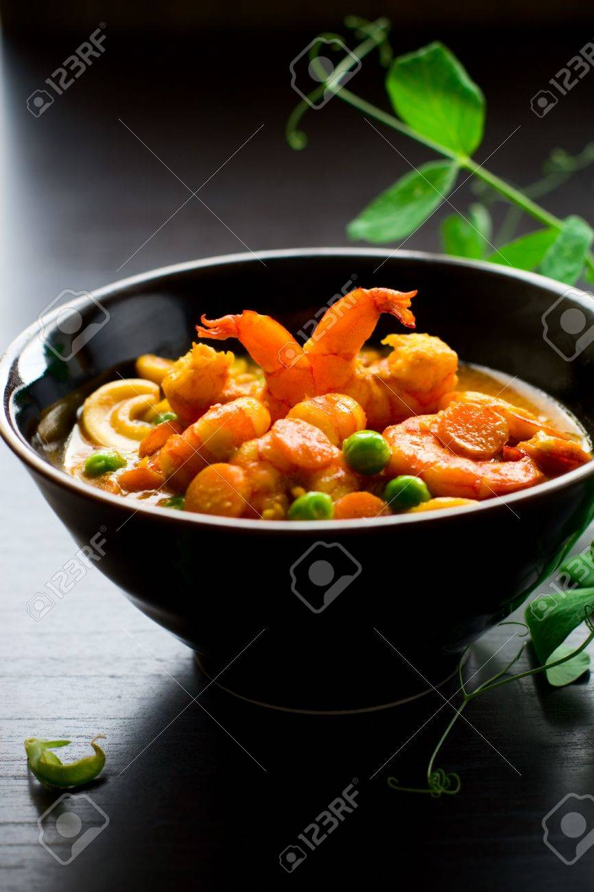 masala with green pea,carrot,shrimps and nut Stock Photo - 6676211